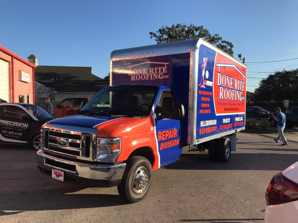 Roofing Vehicle Wrap : Fleet vehicle wraps for roofing company palm harbor fl